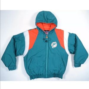 Miami Dolphins Logo Hooded Quilted Puffer Jacket